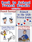 Back to School French Bundle (bell ringers, sub plans, surveys and shoe verbs)