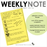 Back to School - Friday Note Parent Communication Form - Editable