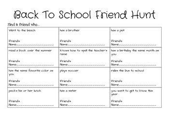 Back to School Friend Hunt