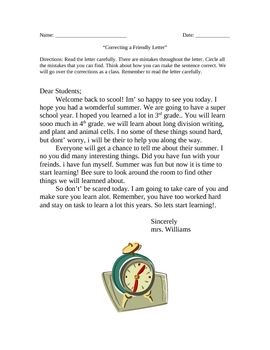 Back to School Friendly Letter