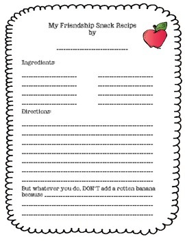 How To Make A Friendship Snack Community Building FREEBIE