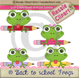 Back to School Frogs  with pencils 2 boys, 2 girls