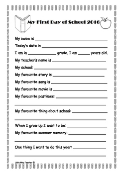 Back to School - Fun Activities for the First Day!