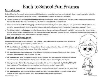 Back to School Fun Frames Writing Activity