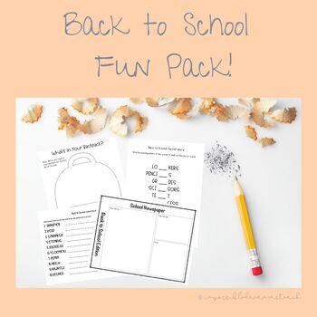 Back to School Fun Pack! Activities