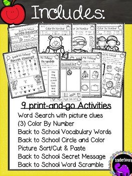 Back to School Fun Pack For First Grade