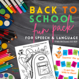 Back to School Fun Pack | NO PREP Speech Language Therapy