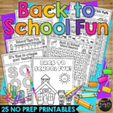Back to School Activity No Prep Packet for First Day of School
