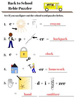 Back to School Activity Fun Sheets - Rebics, Scrambles, and Riddles