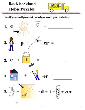 Back to School Activity Fun Sheets - Rebics, Scrambles, an