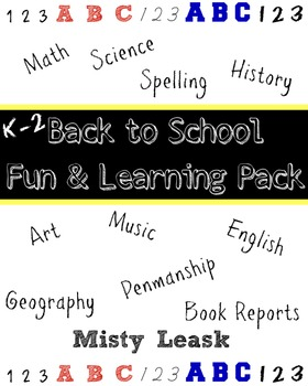Back to School Fun and Learning Pack