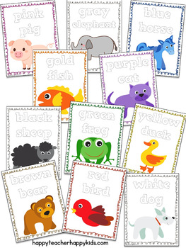 Back to School Color Words & Animals