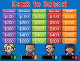 Back to School Jeopardy Style Game Show - BTS - 2nd-6th Grade