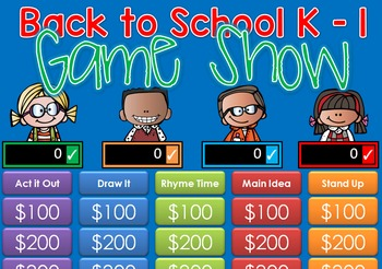 Back to School Jeopardy Style Game Show - BTS - K-1st Grade