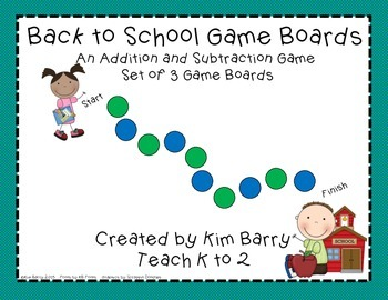 Game Boards - Addition and Subtraction Practice - Back to School Edition