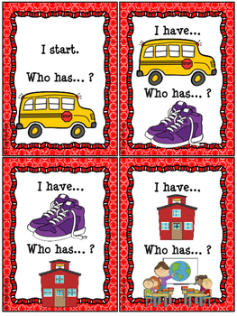 "Back to School - Game ""I have... Who has...?"""