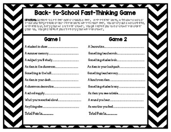Back to School Game: Scattergories  {Great for Students and Staff}