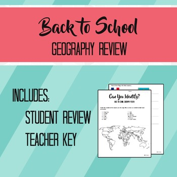 Back to School Geography Review