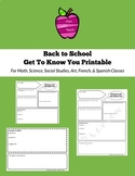 Back to School Get To Know You Middle School High School