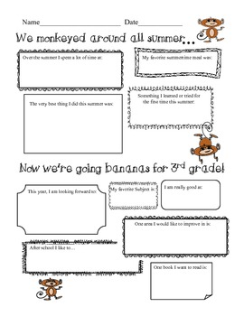 3rd Grade Back To School Intro Monkey Theme Pack w Wall Hanging & Bookmarks