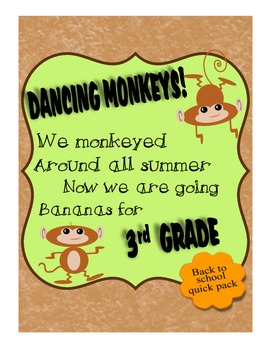 3rd Grade Back To School Intro Monkey Theme Pack w Wall Ha