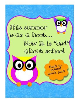 Back to School Get To Know You Owl Theme Packet w Wall Hanging & Bookmarks 3-5th