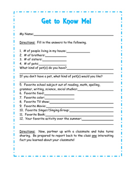 Back to School Get to Know Me Page