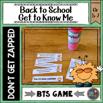 Back to School Activity All About Me Don't Get ZAPPED Icebreaker