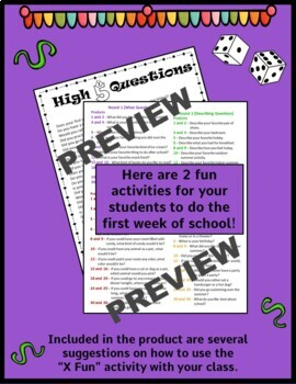 Back to School Get to Know You Activities 4th and 5th grade