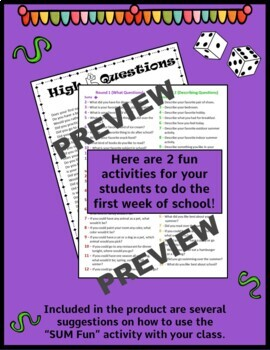 Back to School Get to Know You Activities for 2nd and 3rd grade