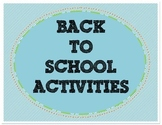 Back to School Get to Know You Activity