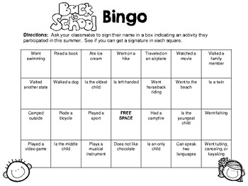 Back to School Get to Know You Bingo