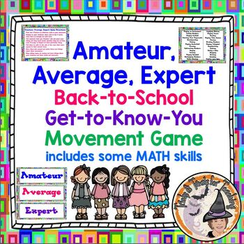 Back to School Get to Know You Game Amateur Average Expert MATH Movement