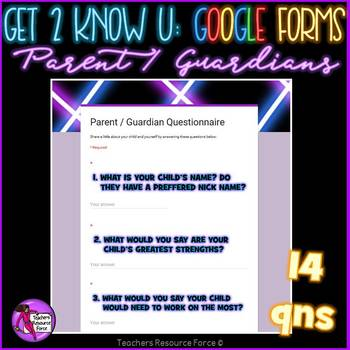 Back to School Get to Know You Google Forms for First Week of School