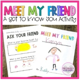 Back to School Get to Know You Meet My Friend Activity