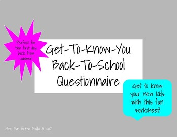 Back-to-School Get-to-Know-You Questionnaire Activity