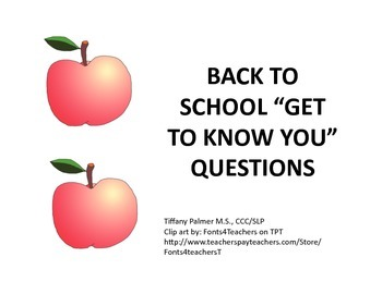 "Back to School ""Get to Know You"" Questions"
