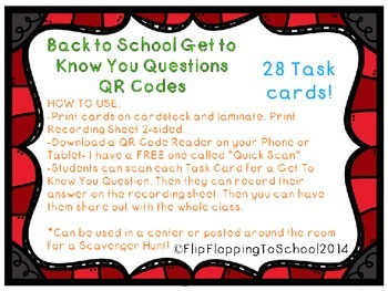 Back to School Get to Know You Questions, Task Cards with QR Codes