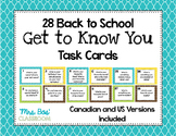 Back to School Get to Know You Task Cards - Canadian and U