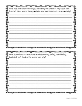 Back-to-School Get to Know You Writing Samples FREEBIE!