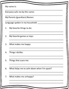 "Back to School ""Getting to Know Me"" Forms; Special Education; Kindergarten; Free"