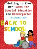 """Back to School """"Getting to Know Me"""" Forms; Special Educati"""