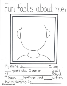 Back to School Getting to Know Me Worksheets