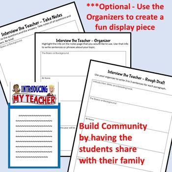 Back to School Getting to Know You Writing Activity