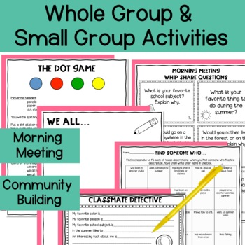Back to School- Getting to Know You- 11 fun get to know you activities