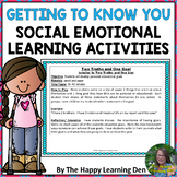 Back to School Getting to Know You Social Emotional Learning Activities