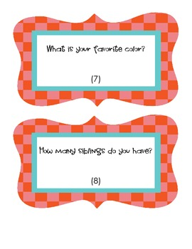 Back to School - Getting to Know You Activity