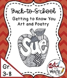 Back to School Getting to Know You Art and Writing