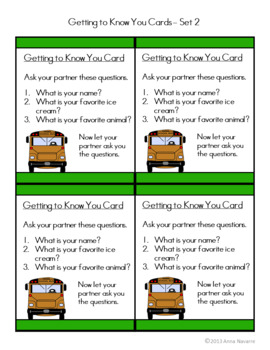Back to School Getting to Know You Cards