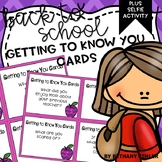 Back to School Getting to Know You Cards | Plus Selfie Craftivity